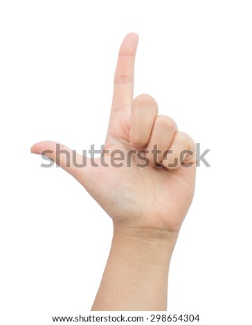 Female hand gesture two finger on isolated background. - stock photo