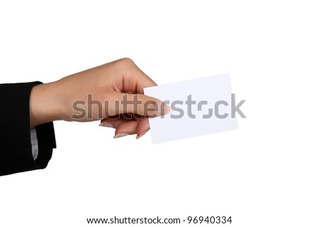 female hand giving business card