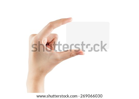 Female hand hold blank card isolated on white background with clipping paths