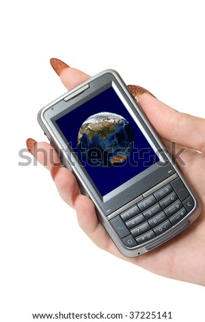 Female hand hold communicator with planet earth at screen.