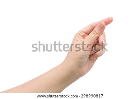 Female hand hold virtual business object with isolated background.