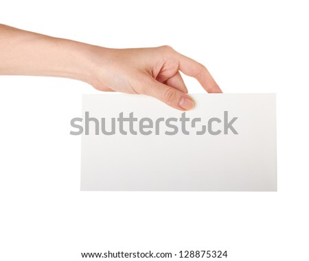 Female hand holding a blank business card, studio isolated