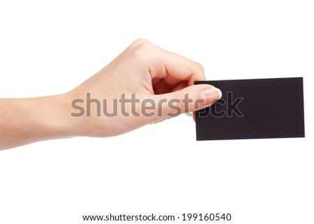 Female hand holding a business card - stock photo