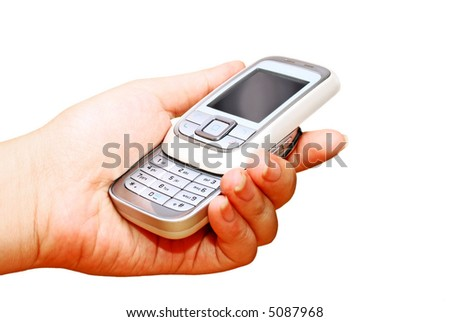 female hand holding a cell phone