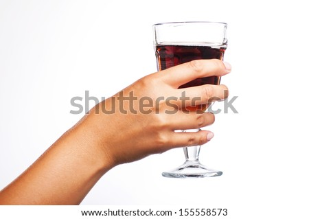 female hand holding a glass