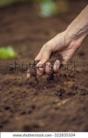 Female hand  holding a handful of rich fertile soil that has been newly dug over or tilled in a concept of conservation of nature and agriculture. Blurred motion of the soil falling to the ground. - stock photo