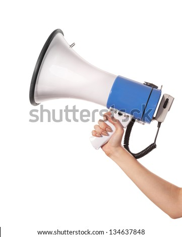 Female hand holding a megaphone. Isolated on a white background - stock photo
