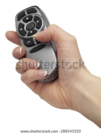 female hand holding a remote control in white back