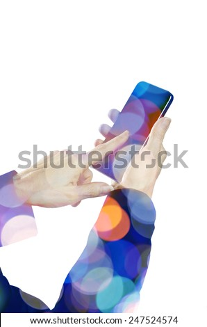 Female hand holding a smart phone with lights  - stock photo