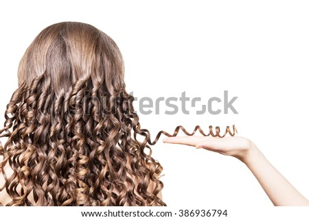 Female hand holding a strand of brown hair curled isolated on a white background. - stock photo