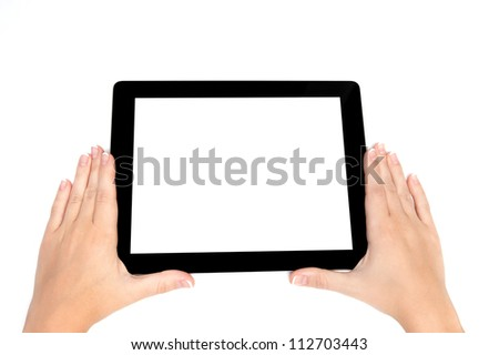 female hand holding a tablet touch computer gadget with isolated screen