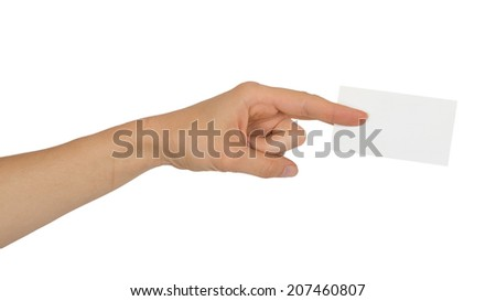 Female hand holding a white business card isolated on white background