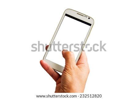 Female hand holding a white smart phone - stock photo