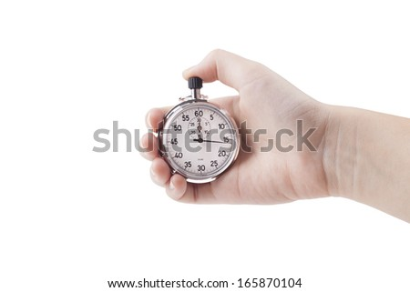 Female hand holding analog silver color stopwatch isolated on white