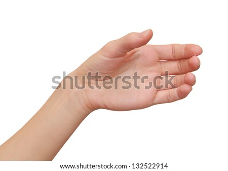 Female hand holding and showing card, mobile phone, blank isolated on white background