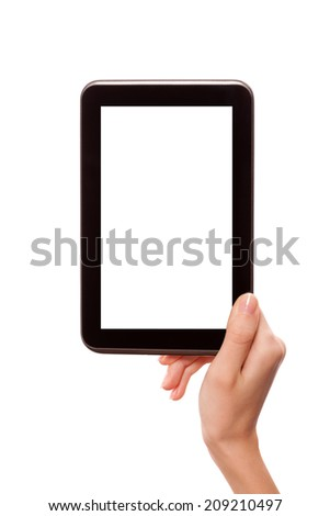Female hand holding android digital tablet computer with black empty screen and copyspace, isolated on white background.