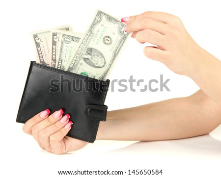 Female hand holding black wallet, isolated on white