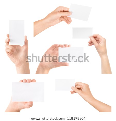 Female hand holding blank business card in hand. Collection set. Isolated on white. - stock photo