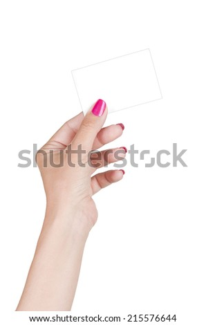 female hand holding blank card, isolated on white - stock photo