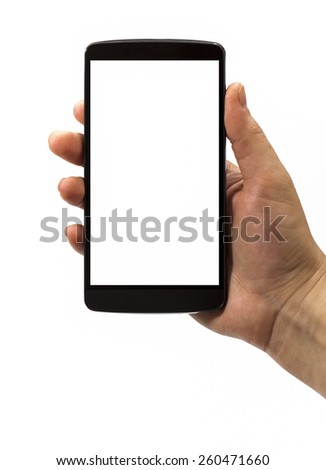 Female hand holding blank mobile smart phone isolated on white background with clipping path for the screen.