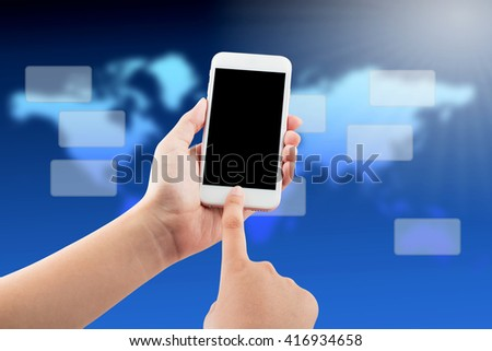 Female hand holding blank screen mobile phone with business graphics concept background, clipping path - stock photo