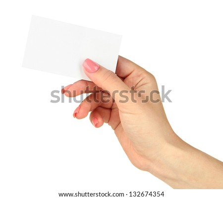Female hand holding business card, isolated on white - stock photo