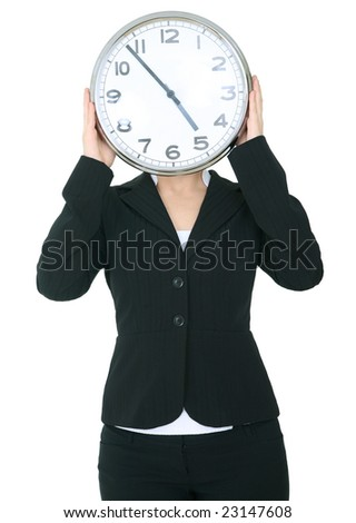female hand holding clock covering her head. isolated on white. showing 5 o'clock
