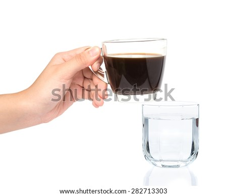 female hand holding cup of coffee with drinking water