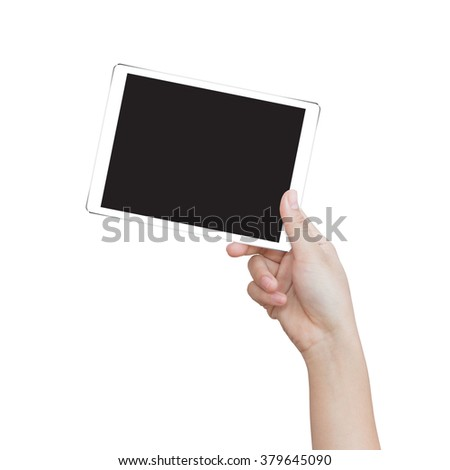 female hand holding digital tablet similar to ipad air isolated clipping patch easy add image inside image data - stock photo