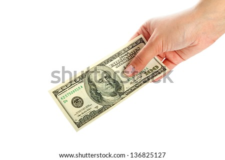 Female hand holding 100 dollar banknote
