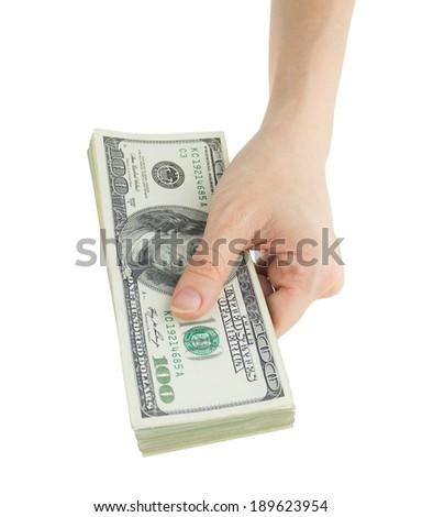 female hand holding dollars, isolated on white - stock photo