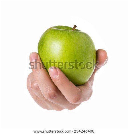 Female hand holding green apple isolated on white background. - stock photo