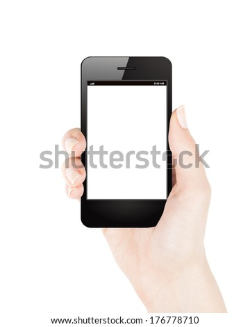 Female hand holding mobile phone in iphone style vertical - stock photo