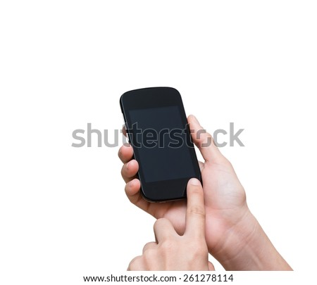 Female hand holding mobile smart phone touch screen on white background, include clipping path
