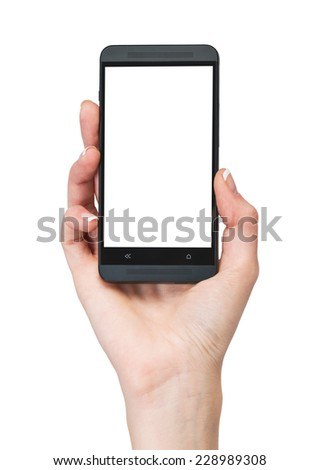 Female hand holding mobile smartphone with blank screen. Isolated on white background. - stock photo