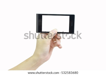 Female hand holding modern smart phone and white screen on white background with clipping path