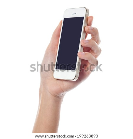 Female hand holding new cell phone