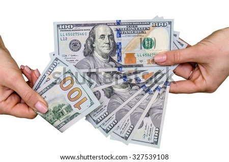 female hand holding new one hundred dollar bill - stock photo