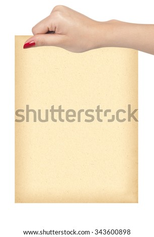 Female hand holding paper blank isolated on white - stock photo