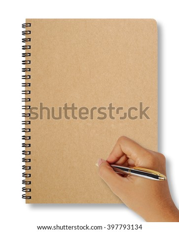 Female hand holding pen and writing notebook on white for text and background, copy space. - stock photo