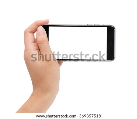 female hand holding phone white screen with clipping path inside - stock photo