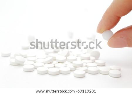 Female hand holding pill - stock photo
