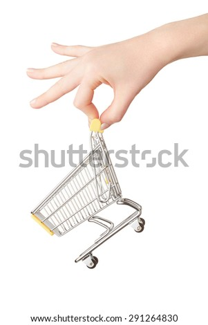 Female hand holding shopping cart isolated on white, clipping path included