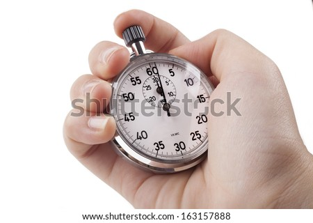 Female Hand holding silver color stopwatch isolated on white background - stock photo