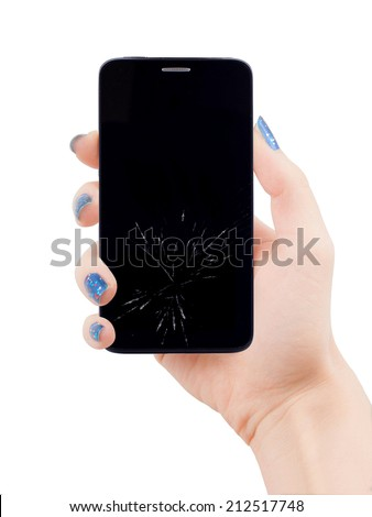 Female hand holding smart phone same with iphone with broken display - stock photo