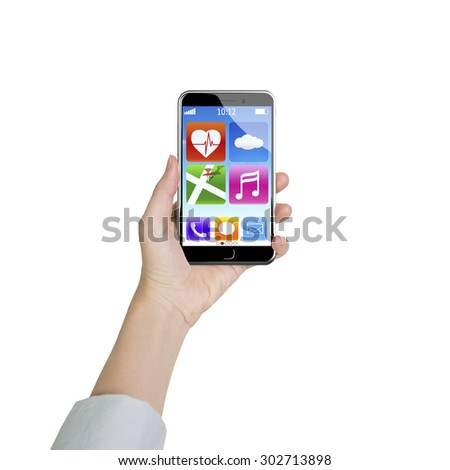 Female hand holding smart phone with colorful app icons, front view, isolated on white.