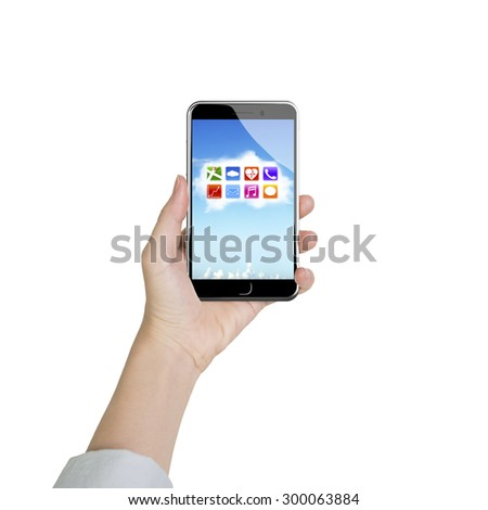 Female hand holding smart phone with colorful app icons on white cloud, front view, isolated on white. - stock photo