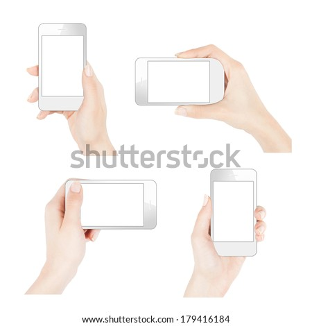 Female hand holding smartphone similar to iphone in four positions - stock photo