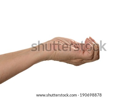 Female Hand holding something isolated on a white background
