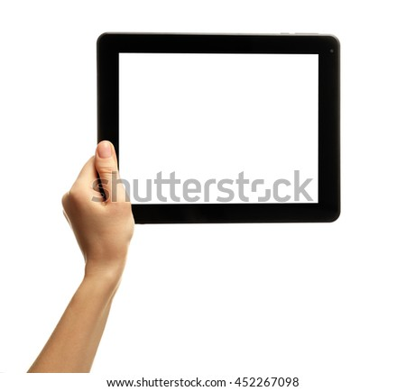Female hand holding tablet isolated on white - stock photo